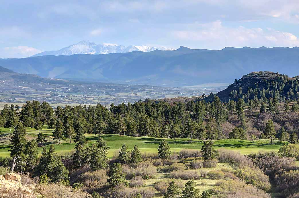 Stunning views from most homes for sale in Castle Pines CO