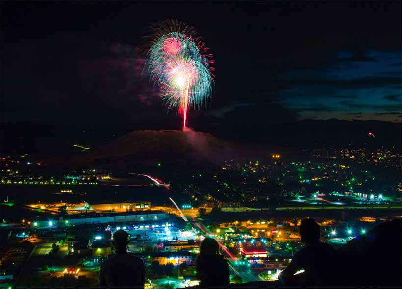 Castle Rock CO Fireworks on Santa Fe Quarry butte