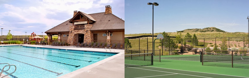 Cobblestone Ranch Castle Rock CO pool and tennis courts