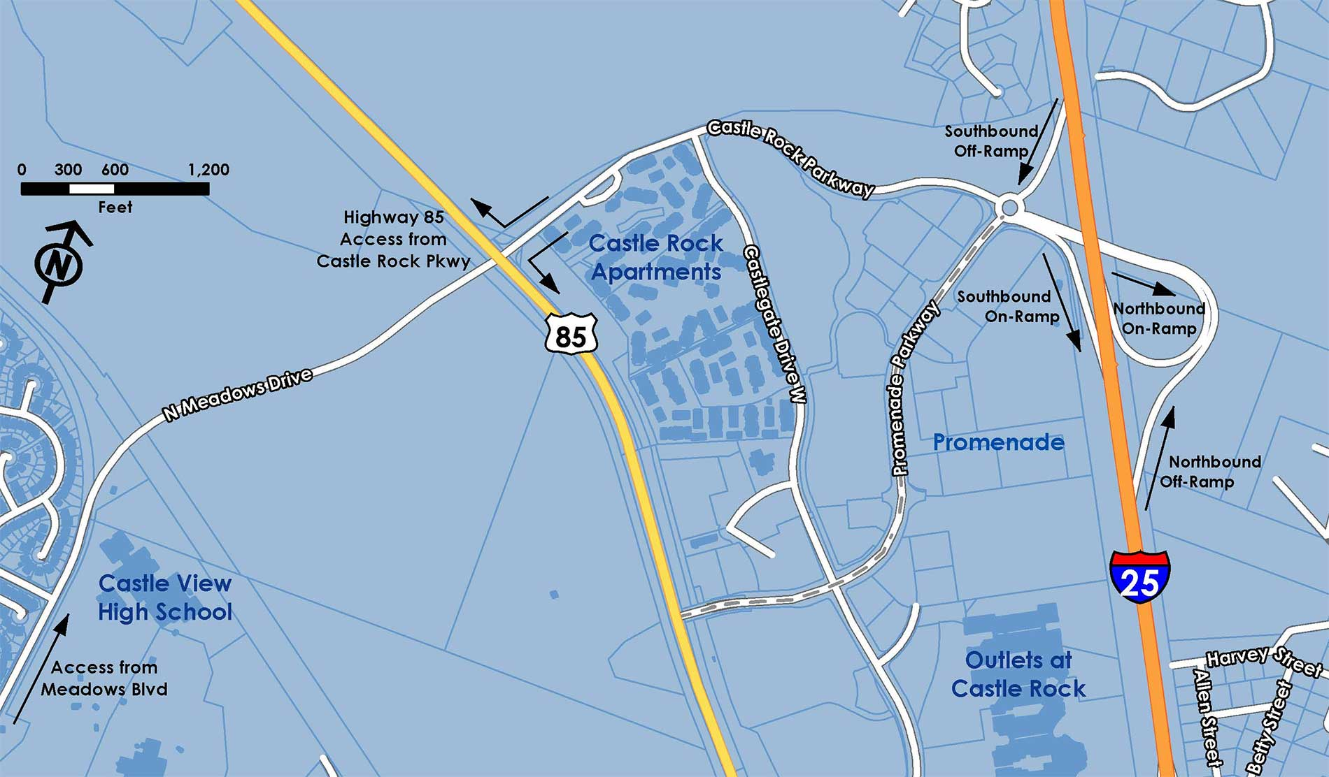 Map of the Castle Rock Parkway/North Meadows Drive