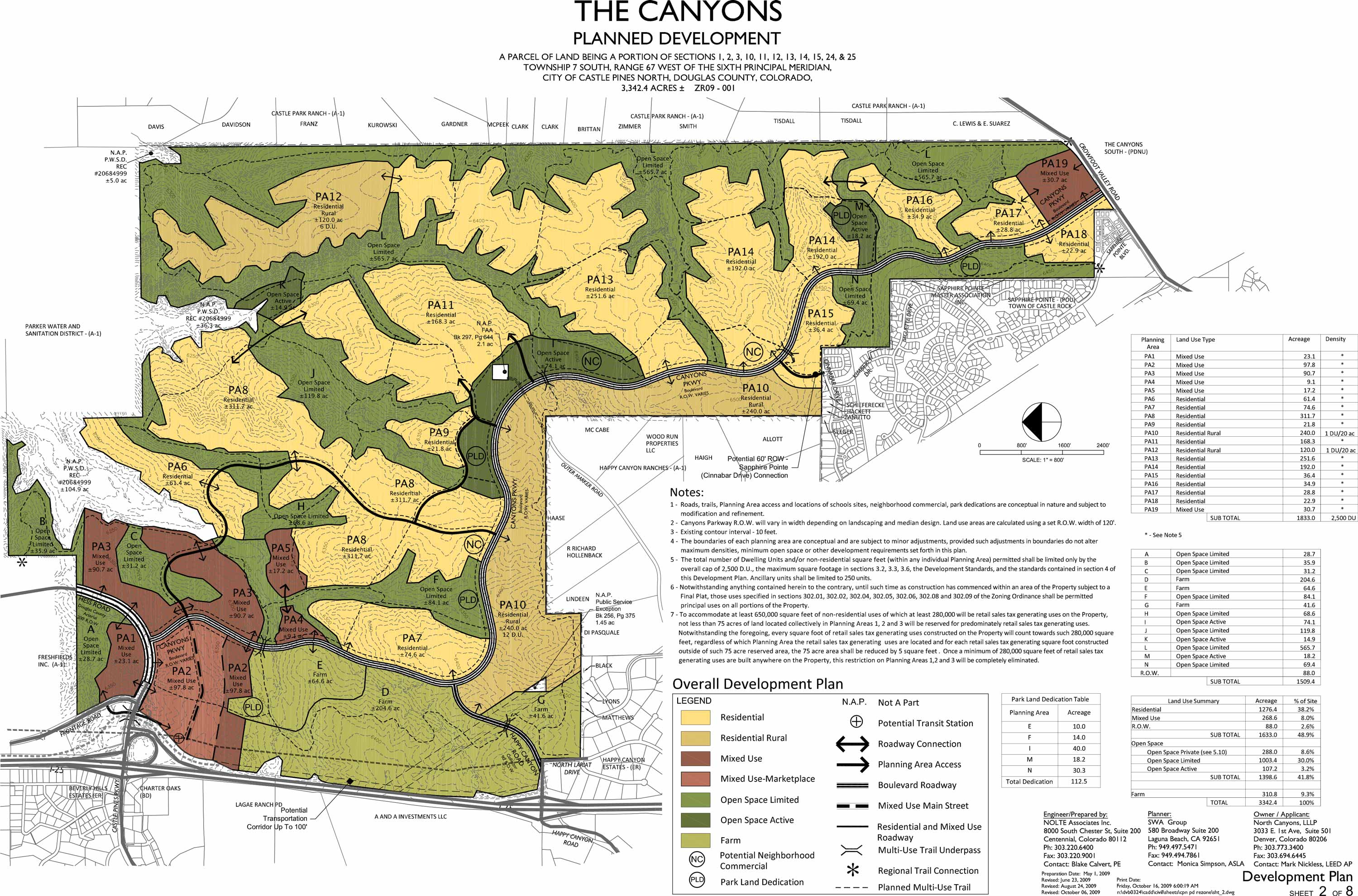 Development of The Canyons in Castle Pines CO Planning Map
